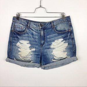 Forever 21 Denim Ripped Boyfriend Shorts